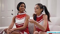 Hot ebony teen and her friend are playing heads...
