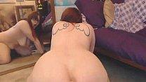 Chubby redhead rides dildo on webcam