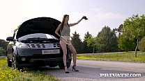 Hot Thin Brunette Lina Luxa, fills her love hol...