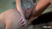 Young redhead seduces and fucks old man then sucks his fat cock and swallows cumshot صورة