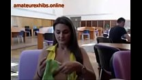 Busty Exhibitionist amateur in the library 10-a...