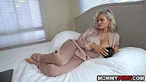 Blonde milf mom with big fake boobs fucking son