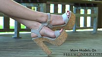 Barefoot Feet Tease With Red Toes, High Heels A...