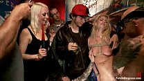 Watch Gangbang party with blonde sluts and a lot of tattoed_people preview