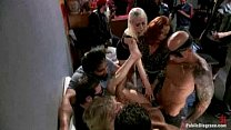 Gangbang party with blonde sluts and a lot of tattoed people Thumbnail