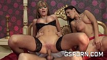 Blonde and brunette gorgeous milfs in hot three...