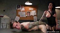 Huge tits tattooed brunette mistress captures a...