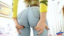 Big Ass Tight Jeans Cameltoe Tattoo Latina Squi...