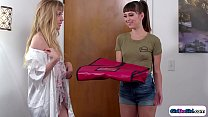 Lesbian wifes roleplay pizza girl.But how is sh...