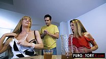 Watch Lucky guy gets to fuck both his stepmom and stepsister at the same time preview