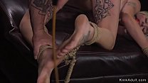 Watch Blonde alt slave gets back hard flogged then takes bastinado till pussy and ass fucked by master preview