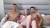 Two Big Bi Curious Cocks And One Hot Blonde Tha...