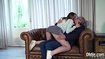 Teenager seduces grandpa and makes him fuck her...