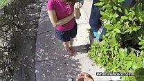 Amateur teen hottie bends for cock in a public ...