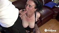 Busty brunette granny sitting on fat cock and f...