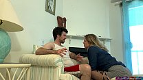 Stepson helps stepmother and cums twice inside her