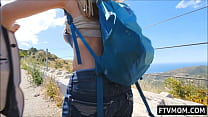 hot milf shows off boobs and ass in public area Thumbnail