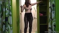 Aya Kisaki is takes off the fishnet stockings i...