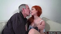 Watch Busty Russian redhead Gisha Forza lets an old guy in who should have had a date with her mom.Since shes not there she offers herself.They kiss and he sucks on her big tits.After some dry humping he licks her.She sucks his cock and lets him fuck her preview