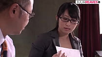 Asian secretary gets her hairy pussy fucked by ...