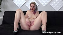 Cute Ebba Sofie plays with her huge nipples and...