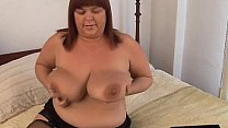 Beautiful busty old spunker imagines you fucking her juicy pussy ~ saggy tits Thumbnail