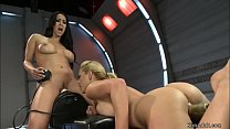 Big tits brunette MILF lesbian Isis Love fists ...