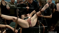 Blindfolded and strapped natural busty slave Be...