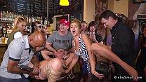 Serbian submissive blonde in public bar deep th...