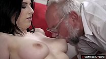 Busty 19yo Russian Sheril Blossom has her tasty tits sucked by a grandpa.She gets all naked and has her shaved pussy eaten before she rubs herself while sucking off his cock.She sets her pussy on his cock and gives him the ride of his life's Thumb