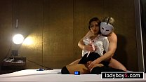 Watch Cute ladyboy handcuffed on her knees to suck cock preview