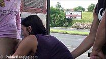 Crazy risky public sex threesome at a bus stop ...