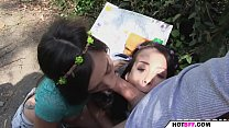 outdoor threesome with the college teens