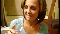 Watch Cumslut swallows a glass of cum and recieves facial at the same time! preview
