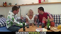 Watch Blonde granny takes it from both sides preview