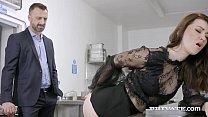 Office Slut Misha Cross deep throats her Boy's ...