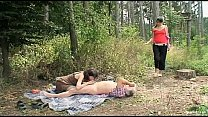 couple fucking hiking girl in the woods