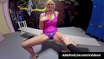 Fine Fuck Queen, Julia Ann, fills her wet eager beaver with a young stud's hard cock in the gym changing room, fulfilling his fantasy as he cums on her! Full Video @ Julia Live @ JuliaAnnLive.com! Thumbnail