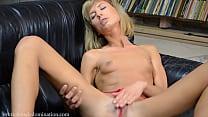 Skinny girl having a huge dildo in her pussy Thumbnail