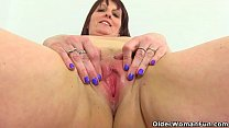 Watch English milf Beau Diamonds peels off her tight jeans before she gets busy with her fingers and a dildo on the bathroom floor. Bonus video: UK milf Lelani. preview