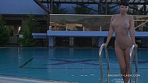I'm wearing transparent swimsuit in the public pool صورة