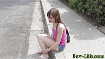 Teen brunette gets banged and swallows cum in p...