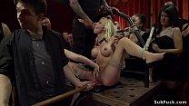 Mistress Lea Lexis brough fake big tits slim bl...