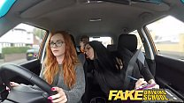 Fake Driving School readhead teen and busty MILF creampie Thumbnail