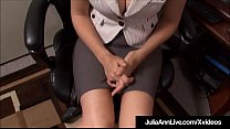 Big Breasted Beauty Julia Ann sits at her office desk, dreaming of sucking a big cock & it happens for real, as she drowns her horny co worker's huge dick inside her saliva drenched mouth, taking a healthy dose of sperm on her face!'s Thumb