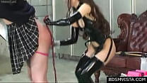 Japanese Mistress in latex whip his pathetic li...