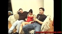 pregnant young women gets banged hard by 2 heav...