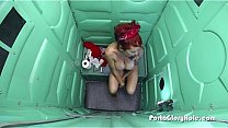 Busted redhead gives fine blowjob on gloryhole