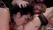 Master rough fucking Asian and blonde slaves صورة
