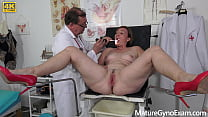 Freaky doctor examines wet senior cunt of chubb...